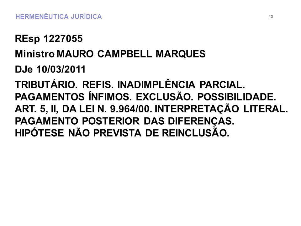 HERMENÊUTICA JURÍDICA REsp 1227055 Ministro MAURO CAMPBELL MARQUES DJe 10/03/2011 TRIBUTÁRIO. REFIS. INADIMPLÊNCIA PARCIAL. PAGAMENTOS ÍNFIMOS. EXCLUS