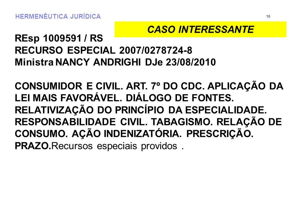 HERMENÊUTICA JURÍDICA REsp 1009591 / RS RECURSO ESPECIAL 2007/0278724-8 Ministra NANCY ANDRIGHI DJe 23/08/2010 CONSUMIDOR E CIVIL. ART. 7º DO CDC. APL
