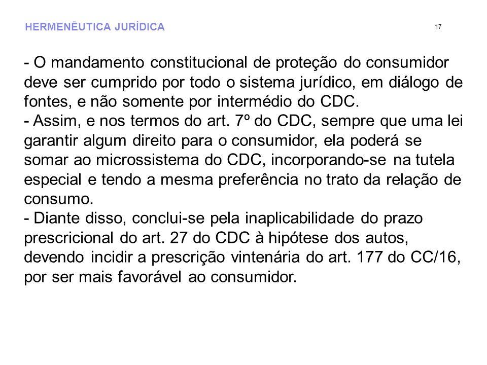 HERMENÊUTICA JURÍDICA - O mandamento constitucional de proteção do consumidor deve ser cumprido por todo o sistema jurídico, em diálogo de fontes, e n