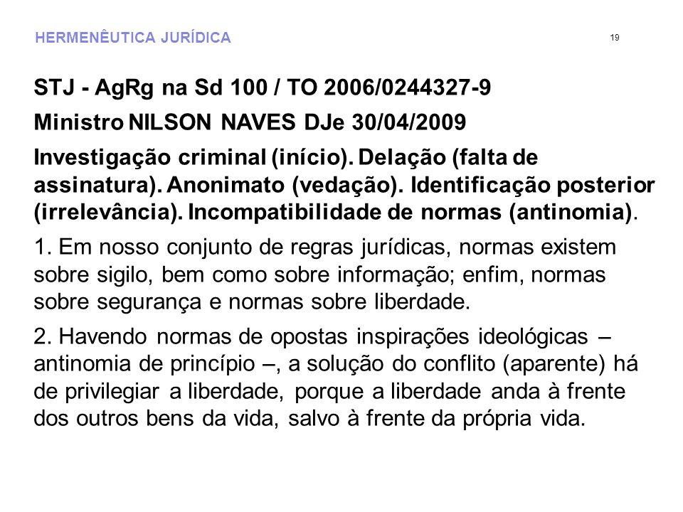 HERMENÊUTICA JURÍDICA STJ - AgRg na Sd 100 / TO 2006/0244327-9 Ministro NILSON NAVES DJe 30/04/2009 Investigação criminal (início). Delação (falta de