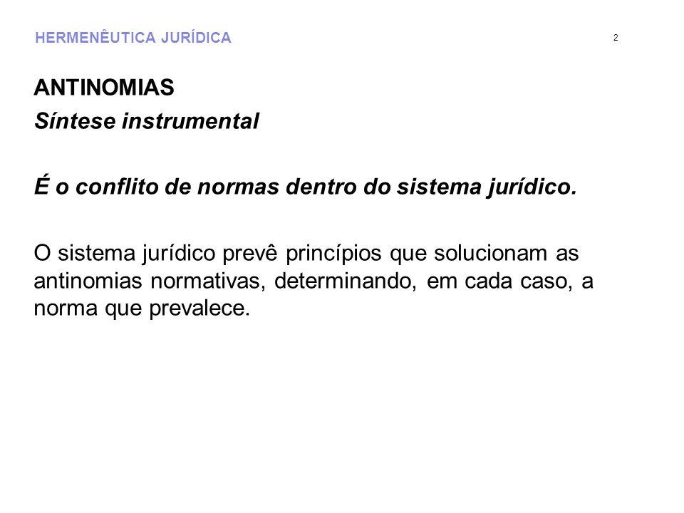 HERMENÊUTICA JURÍDICA ANTINOMIAS Síntese instrumental É o conflito de normas dentro do sistema jurídico. O sistema jurídico prevê princípios que soluc