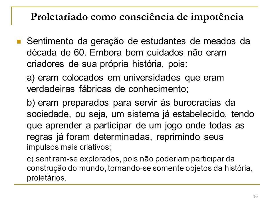 10 Proletariado como consciência de impotência Sentimento da geração de estudantes de meados da década de 60.