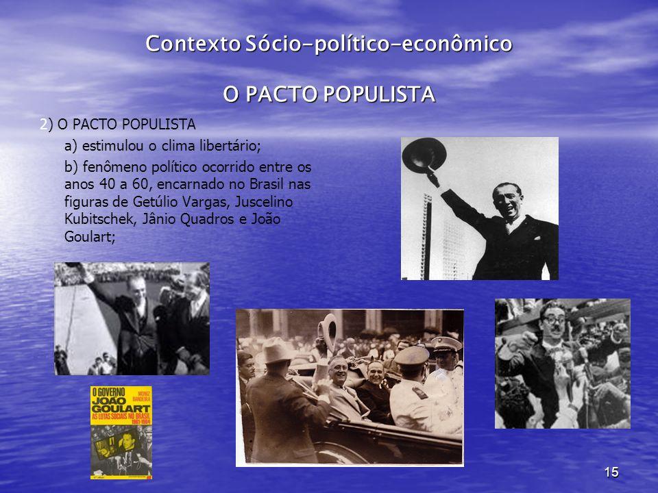 15 Contexto Sócio-político-econômico O PACTO POPULISTA 2) O PACTO POPULISTA a) estimulou o clima libertário; b) fenômeno político ocorrido entre os anos 40 a 60, encarnado no Brasil nas figuras de Getúlio Vargas, Juscelino Kubitschek, Jânio Quadros e João Goulart;