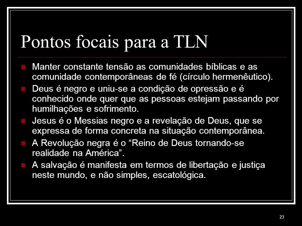 23 Pontos focais para a TLN Manter constante tensão as comunidades bíblicas e as comunidade contemporâneas de fé (círculo hermenêutico).