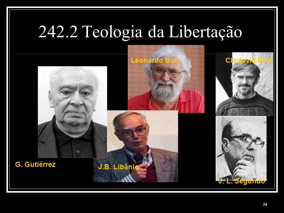 24 242.2 Teologia da Libertação G. Gutiérrez Leonardo Boff J.B. Libânio Clodovis Boff J. L. Segundo