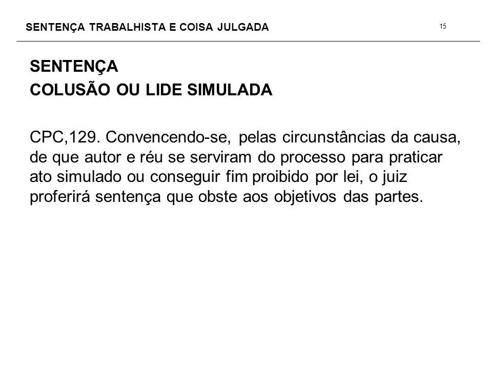 SENTENÇA TRABALHISTA E COISA JULGADA SENTENÇA COLUSÃO OU LIDE SIMULADA CPC,129. Convencendo-se, pelas circunstâncias da causa, de que autor e réu se s