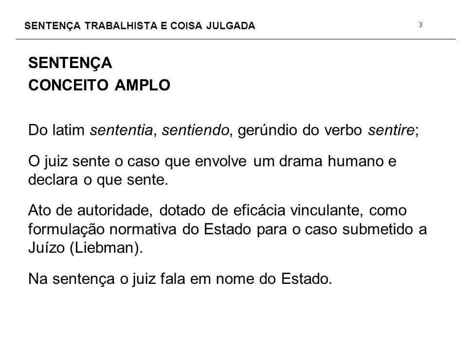 SENTENÇA TRABALHISTA E COISA JULGADA COISA JULGADA LIMITES OBJETIVOS DA COISA JULGADA EFEITOS DO COISA JULGADA CRIMINAL CC.