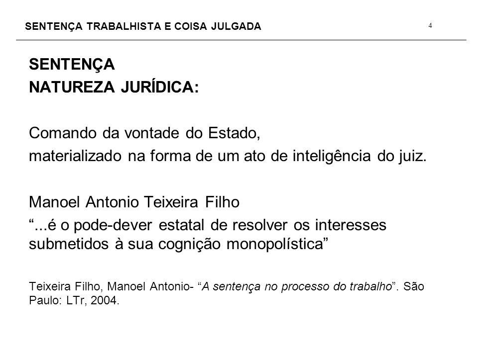 SENTENÇA TRABALHISTA E COISA JULGADA SENTENÇA COLUSÃO OU LIDE SIMULADA CPC,129.