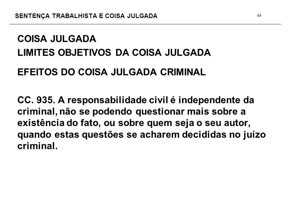 SENTENÇA TRABALHISTA E COISA JULGADA COISA JULGADA LIMITES OBJETIVOS DA COISA JULGADA EFEITOS DO COISA JULGADA CRIMINAL CC. 935. A responsabilidade ci