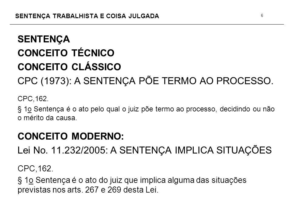 SENTENÇA TRABALHISTA E COISA JULGADA SENTENÇA REQUISITOS ESSENCIAIS CPC, 458.