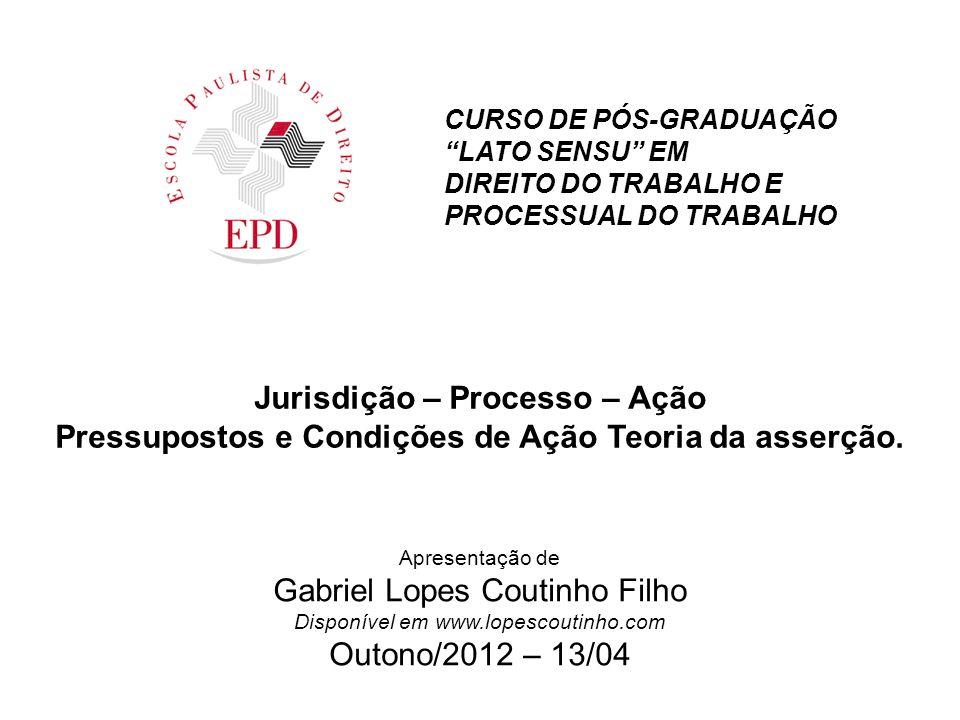 SUMÁRIO JURISDIÇÃO PRETENSÃO DEMANDA JURISDIÇÃO VOLUNTÁRIA PROCESSO E PROCEDIMENTO PRESSUPOSTOS PROCESSUAIS E CONDIÇÃO DE AÇÃO TEORIAS DA AÇÃO CARÊNCIA DE AÇÃO CONDIÇÕES DA AÇÃO INTERESSE PROCESSSUAL – TRINÔMIO LEGITIMIDADE POSSIBILIDADE JURÍDICA DO PEDIDO TEORIA DA ASSERÇÃO 2