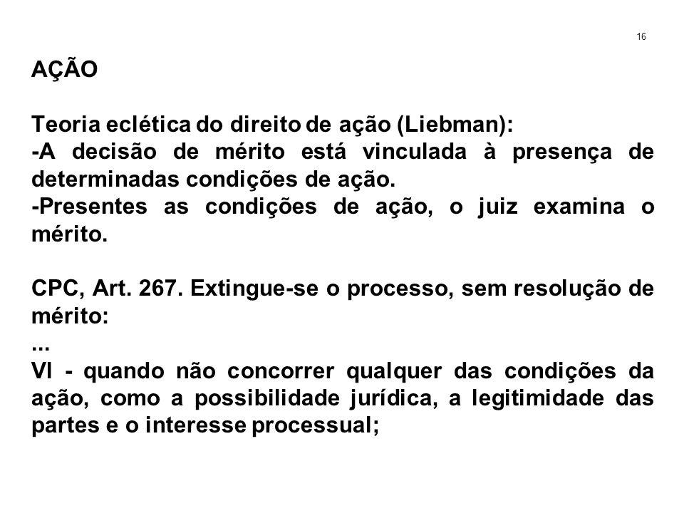 AÇÃO Teoria eclética do direito de ação (Liebman): -A decisão de mérito está vinculada à presença de determinadas condições de ação. -Presentes as con