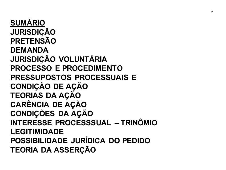 SUMÁRIO JURISDIÇÃO PRETENSÃO DEMANDA JURISDIÇÃO VOLUNTÁRIA PROCESSO E PROCEDIMENTO PRESSUPOSTOS PROCESSUAIS E CONDIÇÃO DE AÇÃO TEORIAS DA AÇÃO CARÊNCI