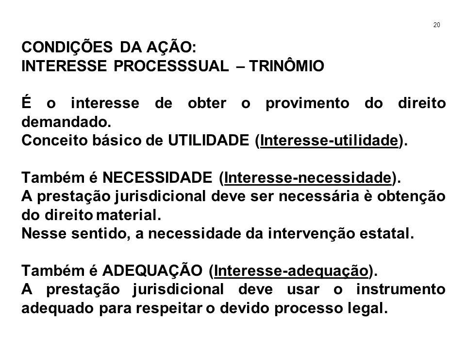 CONDIÇÕES DA AÇÃO: INTERESSE PROCESSSUAL – TRINÔMIO É o interesse de obter o provimento do direito demandado. Conceito básico de UTILIDADE (Interesse-