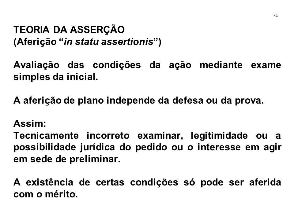 TEORIA DA ASSERÇÃO (Aferição in statu assertionis) Avaliação das condições da ação mediante exame simples da inicial. A aferição de plano independe da