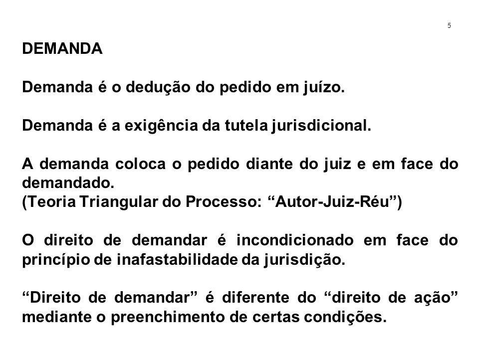 DEMANDA Demanda é o dedução do pedido em juízo. Demanda é a exigência da tutela jurisdicional. A demanda coloca o pedido diante do juiz e em face do d