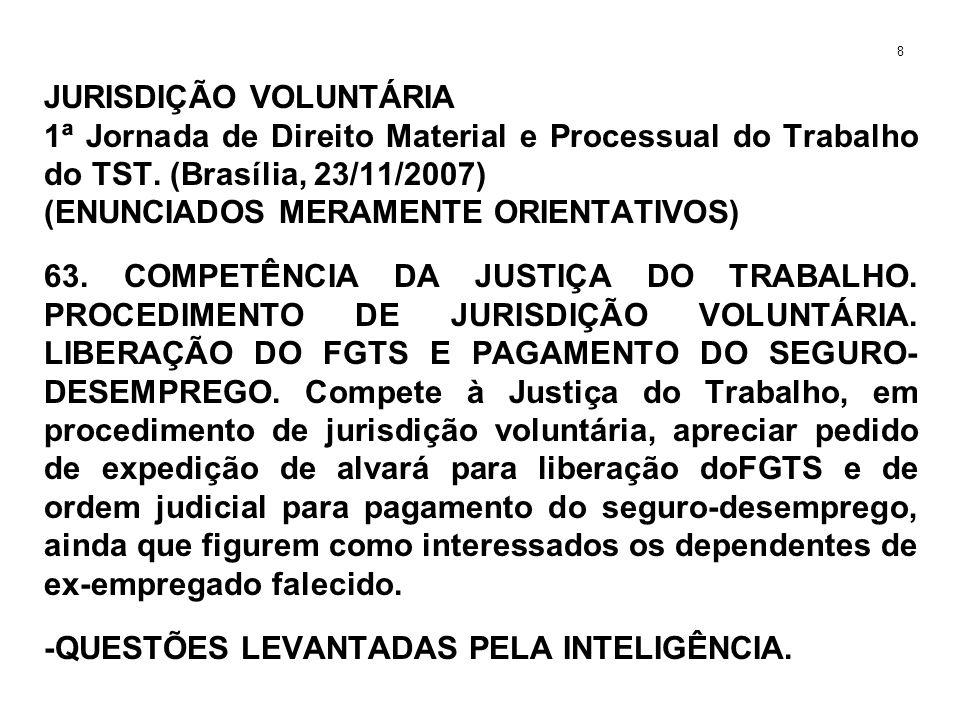 JURISDIÇÃO VOLUNTÁRIA 1ª Jornada de Direito Material e Processual do Trabalho do TST. (Brasília, 23/11/2007) (ENUNCIADOS MERAMENTE ORIENTATIVOS) 63. C