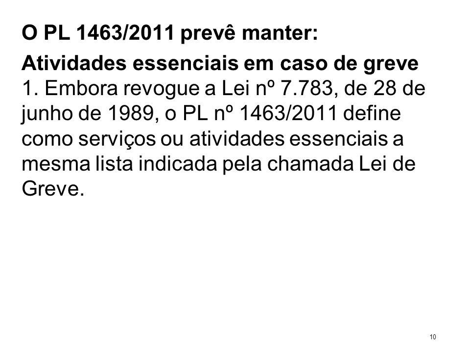 O PL 1463/2011 prevê manter: Atividades essenciais em caso de greve 1. Embora revogue a Lei nº 7.783, de 28 de junho de 1989, o PL nº 1463/2011 define