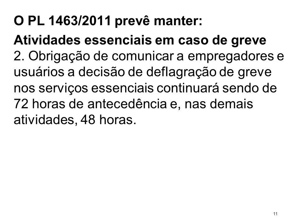 O PL 1463/2011 prevê manter: Atividades essenciais em caso de greve 2. Obrigação de comunicar a empregadores e usuários a decisão de deflagração de gr