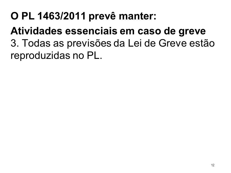 O PL 1463/2011 prevê manter: Atividades essenciais em caso de greve 3. Todas as previsões da Lei de Greve estão reproduzidas no PL. 12