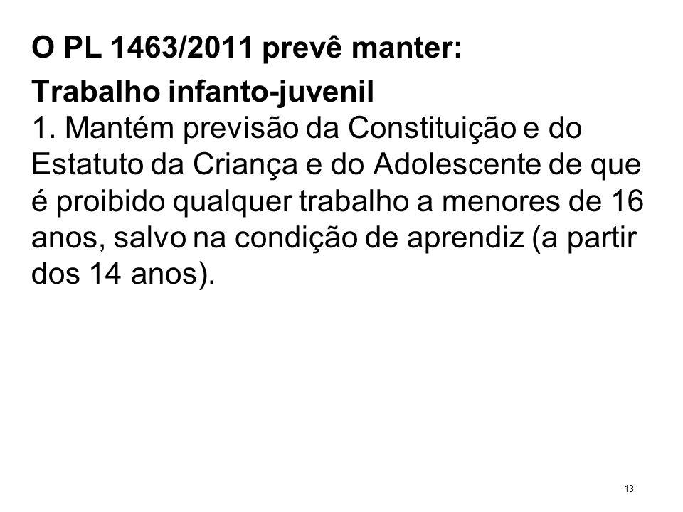 O PL 1463/2011 prevê manter: Trabalho infanto-juvenil 1. Mantém previsão da Constituição e do Estatuto da Criança e do Adolescente de que é proibido q