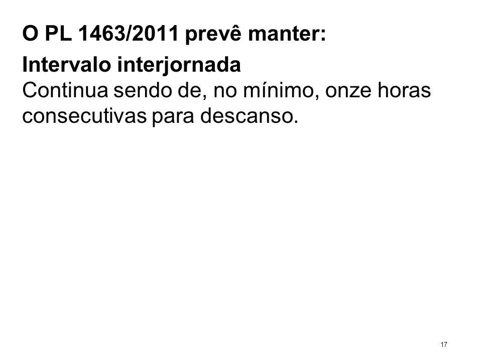 O PL 1463/2011 prevê manter: Intervalo interjornada Continua sendo de, no mínimo, onze horas consecutivas para descanso. 17