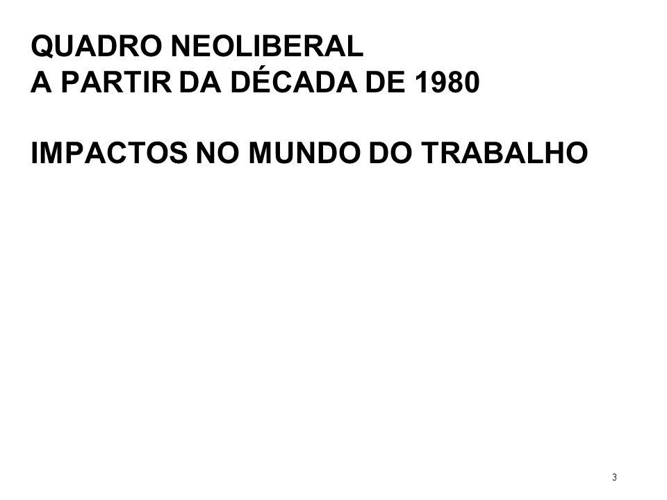 QUADRO NEOLIBERAL A PARTIR DA DÉCADA DE 1980 IMPACTOS NO MUNDO DO TRABALHO 3
