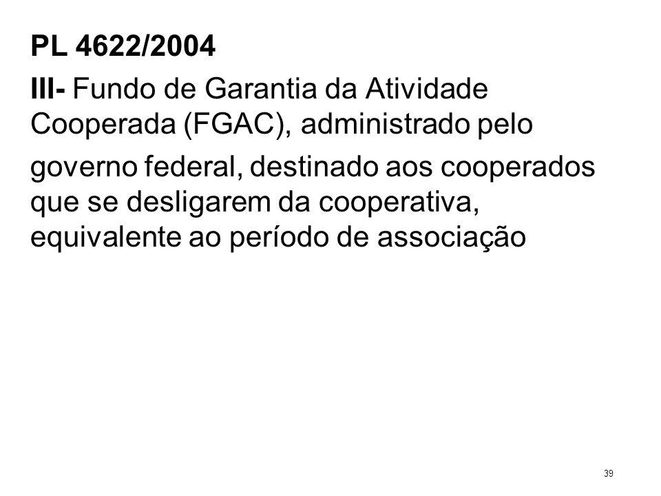 PL 4622/2004 III- Fundo de Garantia da Atividade Cooperada (FGAC), administrado pelo governo federal, destinado aos cooperados que se desligarem da co
