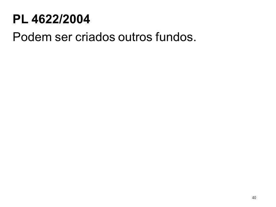 PL 4622/2004 Podem ser criados outros fundos. 40
