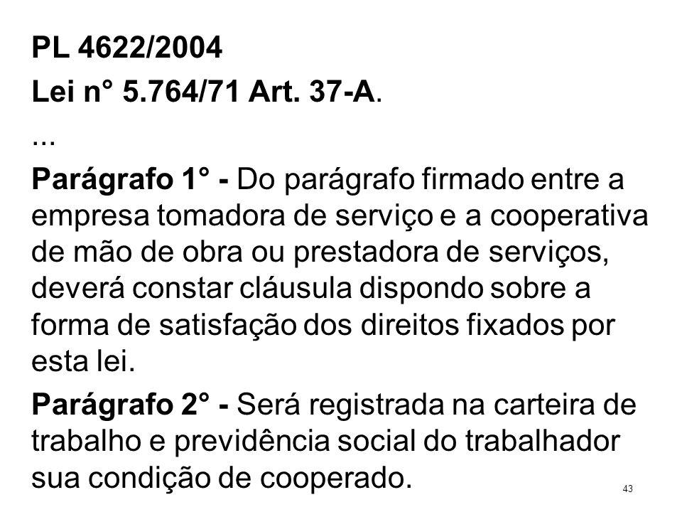 PL 4622/2004 Lei n° 5.764/71 Art. 37-A.... Parágrafo 1° - Do parágrafo firmado entre a empresa tomadora de serviço e a cooperativa de mão de obra ou p