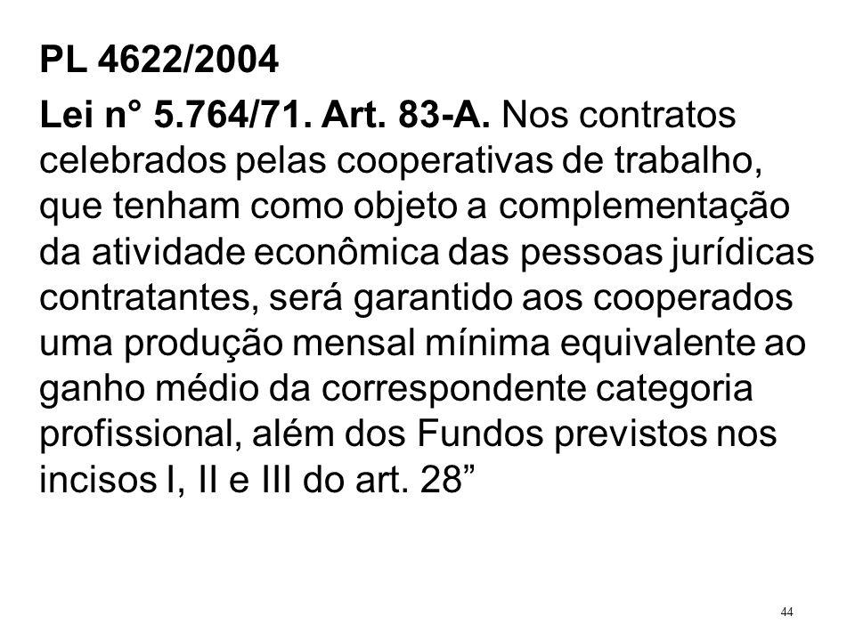 PL 4622/2004 Lei n° 5.764/71. Art. 83-A. Nos contratos celebrados pelas cooperativas de trabalho, que tenham como objeto a complementação da atividade