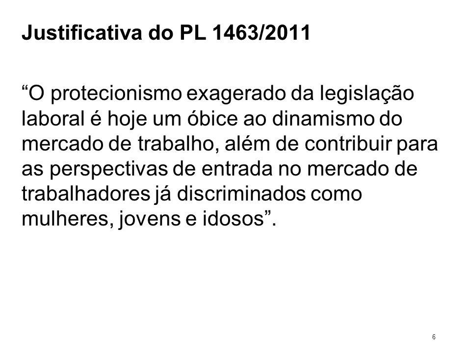 Justificativa do PL 1463/2011 O protecionismo exagerado da legislação laboral é hoje um óbice ao dinamismo do mercado de trabalho, além de contribuir
