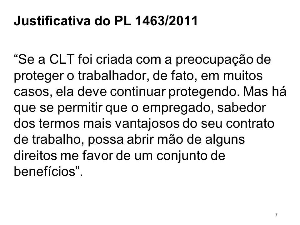 Justificativa do PL 1463/2011 Se a CLT foi criada com a preocupação de proteger o trabalhador, de fato, em muitos casos, ela deve continuar protegendo