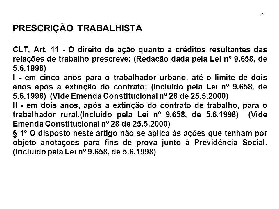 PRESCRIÇÃO TRABALHISTA CLT, Art. 11 - O direito de ação quanto a créditos resultantes das relações de trabalho prescreve: (Redação dada pela Lei nº 9.