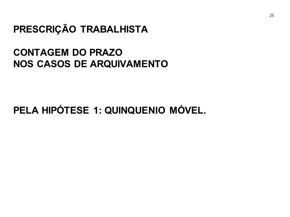 PRESCRIÇÃO TRABALHISTA CONTAGEM DO PRAZO NOS CASOS DE ARQUIVAMENTO PELA HIPÓTESE 1: QUINQUENIO MÓVEL. 26