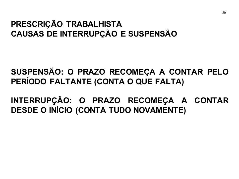 PRESCRIÇÃO TRABALHISTA CAUSAS DE INTERRUPÇÃO E SUSPENSÃO SUSPENSÃO: O PRAZO RECOMEÇA A CONTAR PELO PERÍODO FALTANTE (CONTA O QUE FALTA) INTERRUPÇÃO: O