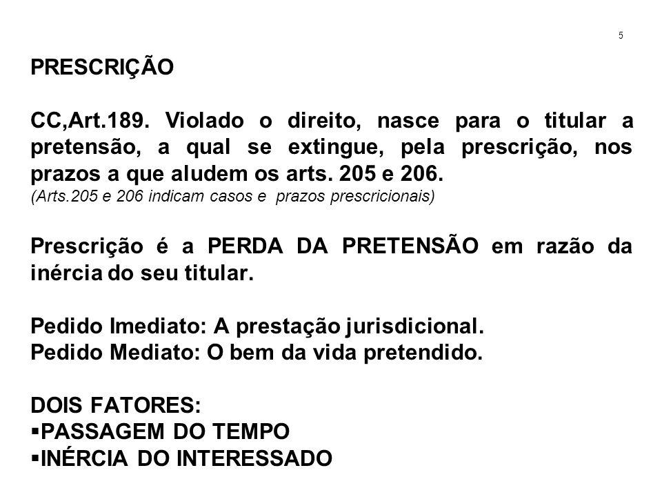 PRESCRIÇÃO CC,Art.189. Violado o direito, nasce para o titular a pretensão, a qual se extingue, pela prescrição, nos prazos a que aludem os arts. 205