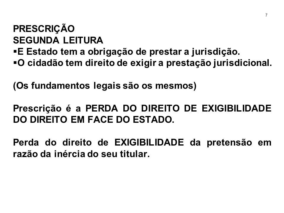 PRESCRIÇÃO SEGUNDA LEITURA E Estado tem a obrigação de prestar a jurisdição. O cidadão tem direito de exigir a prestação jurisdicional. (Os fundamento