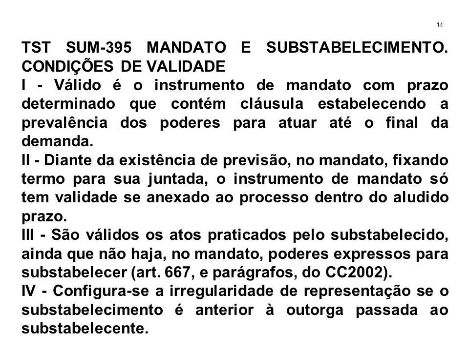 TST SUM-395 MANDATO E SUBSTABELECIMENTO. CONDIÇÕES DE VALIDADE I - Válido é o instrumento de mandato com prazo determinado que contém cláusula estabel