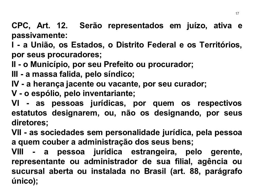 CPC, Art. 12. Serão representados em juízo, ativa e passivamente: I - a União, os Estados, o Distrito Federal e os Territórios, por seus procuradores;