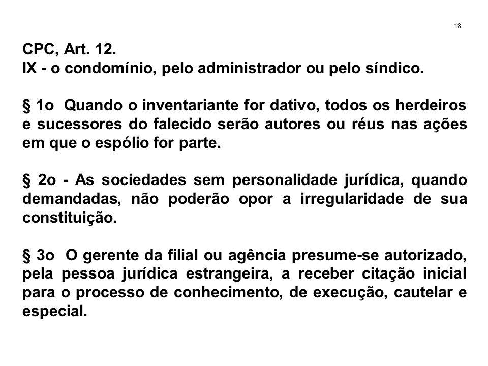 CPC, Art. 12. IX - o condomínio, pelo administrador ou pelo síndico. § 1o Quando o inventariante for dativo, todos os herdeiros e sucessores do faleci