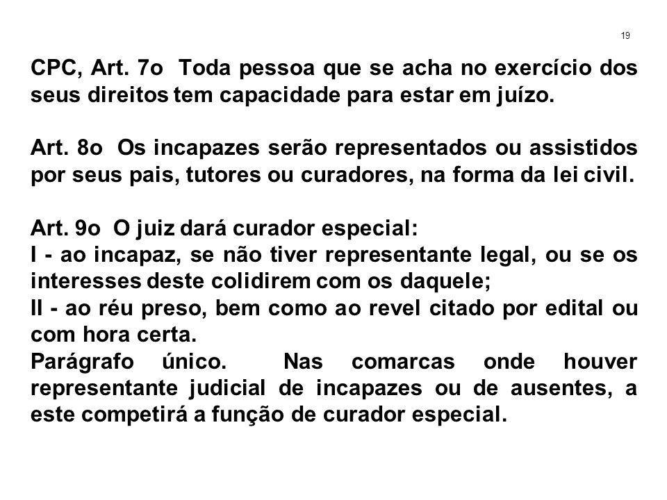CPC, Art. 7o Toda pessoa que se acha no exercício dos seus direitos tem capacidade para estar em juízo. Art. 8o Os incapazes serão representados ou as
