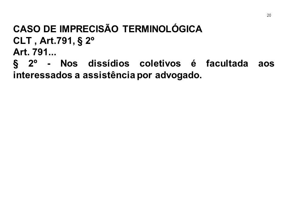 CASO DE IMPRECISÃO TERMINOLÓGICA CLT, Art.791, § 2º Art. 791... § 2º - Nos dissídios coletivos é facultada aos interessados a assistência por advogado