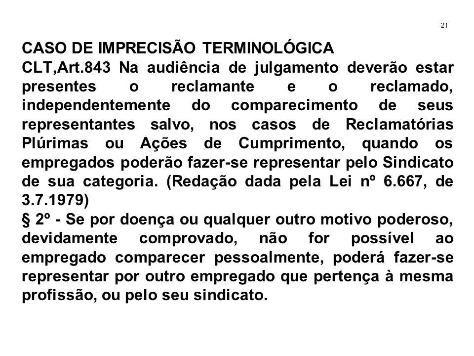 CASO DE IMPRECISÃO TERMINOLÓGICA CLT,Art.843 Na audiência de julgamento deverão estar presentes o reclamante e o reclamado, independentemente do compa