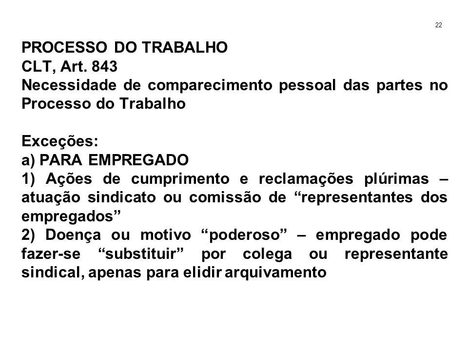 PROCESSO DO TRABALHO CLT, Art. 843 Necessidade de comparecimento pessoal das partes no Processo do Trabalho Exceções: a) PARA EMPREGADO 1) Ações de cu