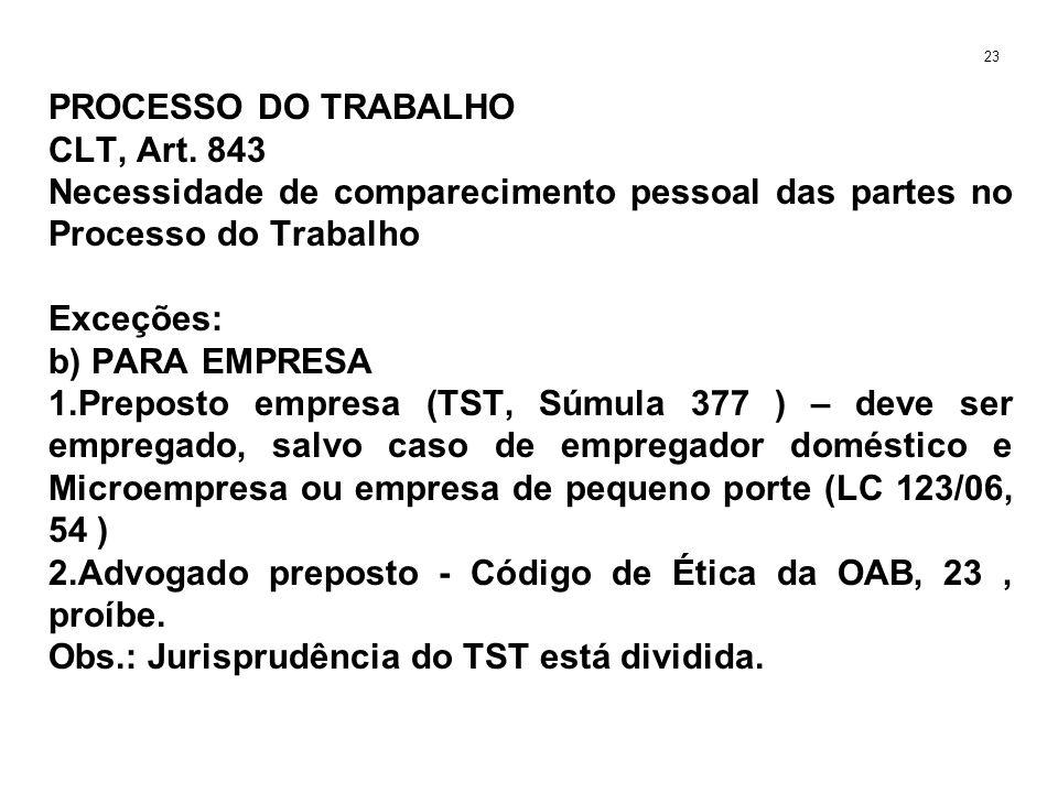 PROCESSO DO TRABALHO CLT, Art. 843 Necessidade de comparecimento pessoal das partes no Processo do Trabalho Exceções: b) PARA EMPRESA 1.Preposto empre