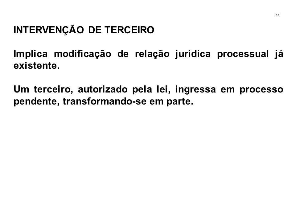 INTERVENÇÃO DE TERCEIRO Implica modificação de relação jurídica processual já existente. Um terceiro, autorizado pela lei, ingressa em processo penden