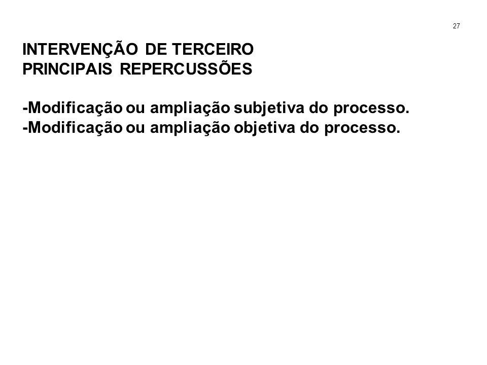INTERVENÇÃO DE TERCEIRO PRINCIPAIS REPERCUSSÕES -Modificação ou ampliação subjetiva do processo. -Modificação ou ampliação objetiva do processo. 27