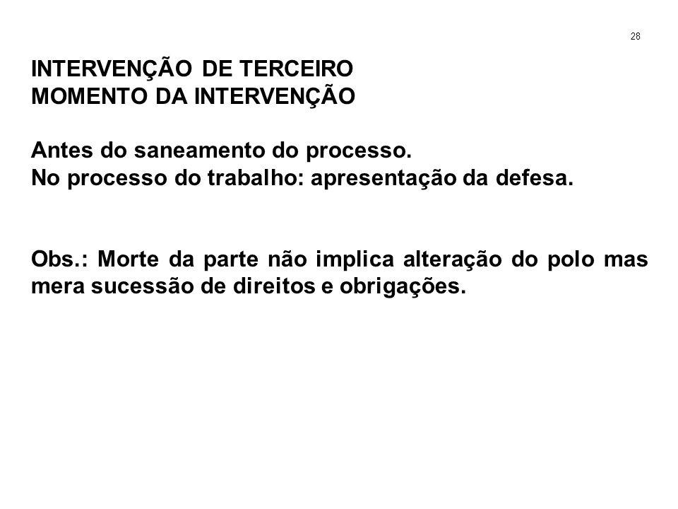 INTERVENÇÃO DE TERCEIRO MOMENTO DA INTERVENÇÃO Antes do saneamento do processo. No processo do trabalho: apresentação da defesa. Obs.: Morte da parte