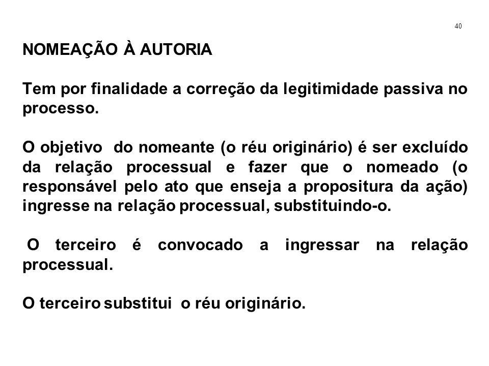 NOMEAÇÃO À AUTORIA Tem por finalidade a correção da legitimidade passiva no processo. O objetivo do nomeante (o réu originário) é ser excluído da rela